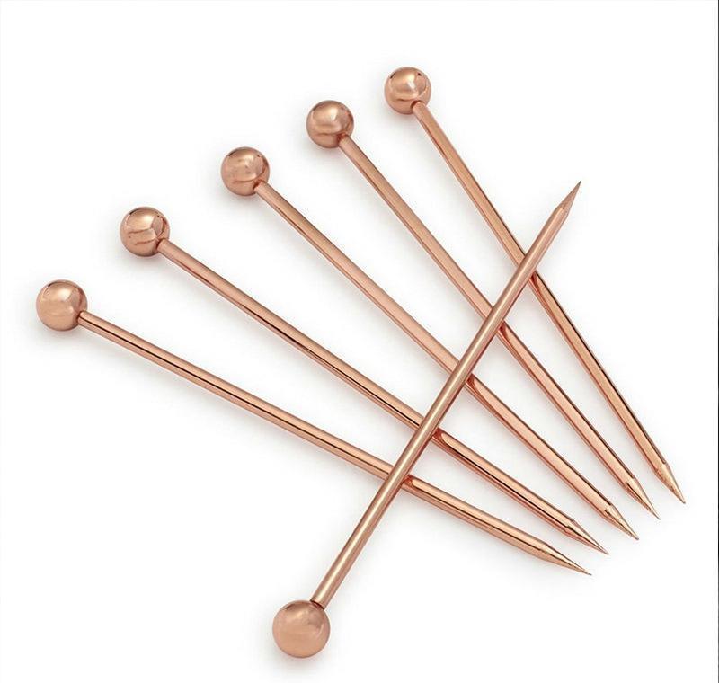 Forks de fruta de acero inoxidable decoración de cócteles horquilla de oliva color chapado en color de titanio aguja 4 forma kitche bbywzd ladyshome