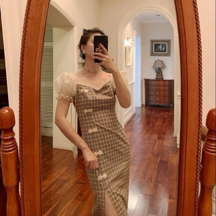 WJBx2 2020 Verão Plaid modificado cheongsam estilo Repartição nacional dressNational nova bolha saia vestido elegante-line um ombro Vestido dresssle