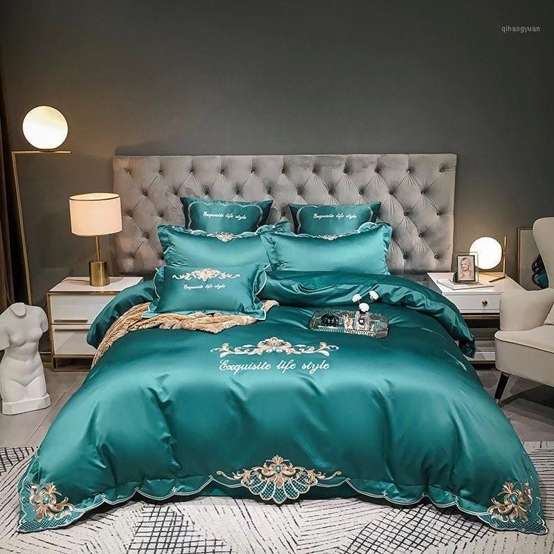 4Pcs Embroidery Duvet Cover Set King Queen Size Teal Silk Satin Cotton Bedding Set (1 Duvet Cover +1Flat sheet+ 2 Pillowcases)1