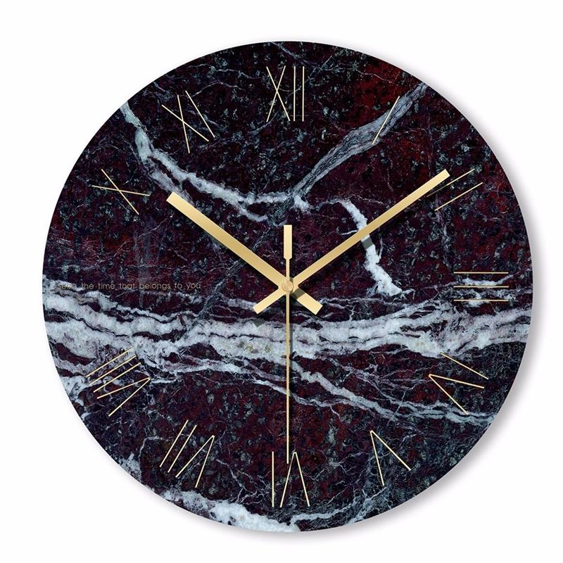 1pc rond horloge murale simple décoratif créatif nordique nordique marbre moderne horloge murale pour salon cuisine cuisine chambre y200109