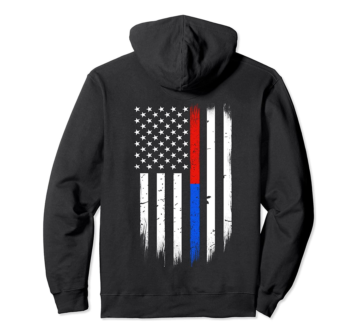 Firefighter Police Flag Thin Red Blue Line Hoodie Unisex S-5XL Black/Grey/Navy/Royal Blue/Dark Heather