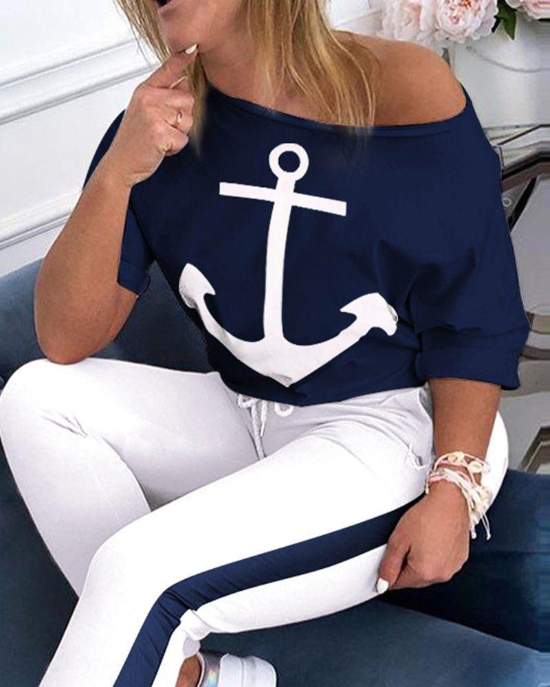 Al077 женщин две кусок футболку набор короткий рукав футболку Navy спортивный костюм два кусок якорь печати установить GzVPT