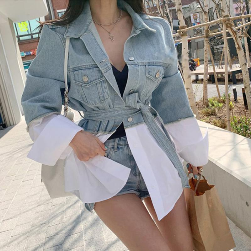 LANMREM New Coreia do outono e Denim Patchwork shirt Jacket Único Breasted cintura alta com cinto WK01605 201013