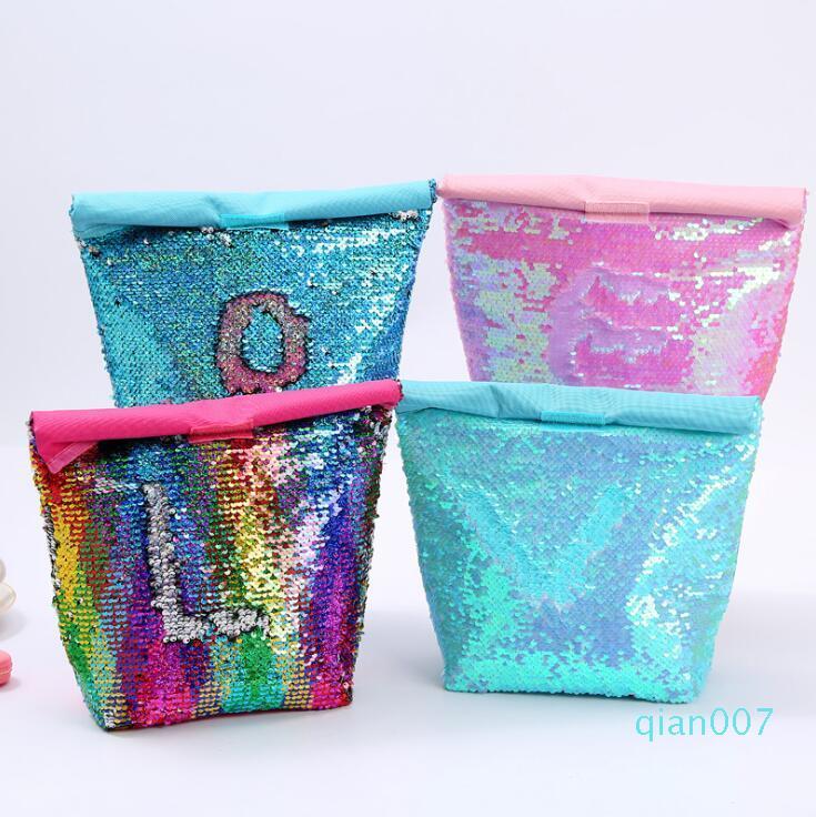 Mermaid Bento Borsa paillettes dispositivi di raffreddamento borsa Ufficio alimentare contenitori stradali per bambini da picnic bambini pranzo al sacco isolato 4 stili LXL1110