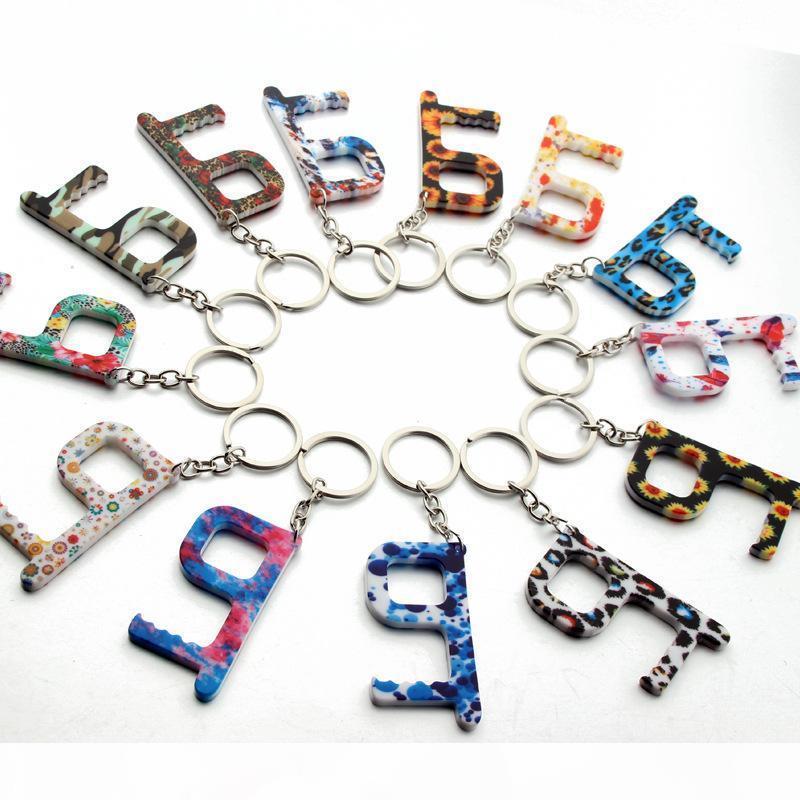 Mode-Schlüsselanhänger Blume Aufzug Buttons Kontaktloser Werkzeug Türgriff Schlüssel Griff Sicherheitsschutz Isolation No-Touch Opener Auto Keychain Ring