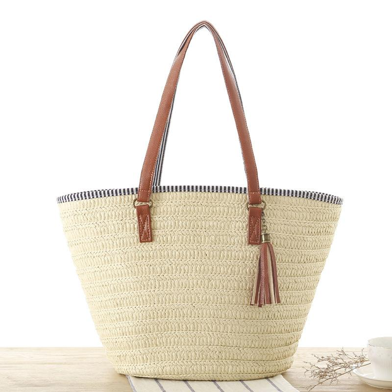 casual tassel straw rattan women handbags wicker woven shoulder bags large capacity totes bucket bag summer beach purses Q1230