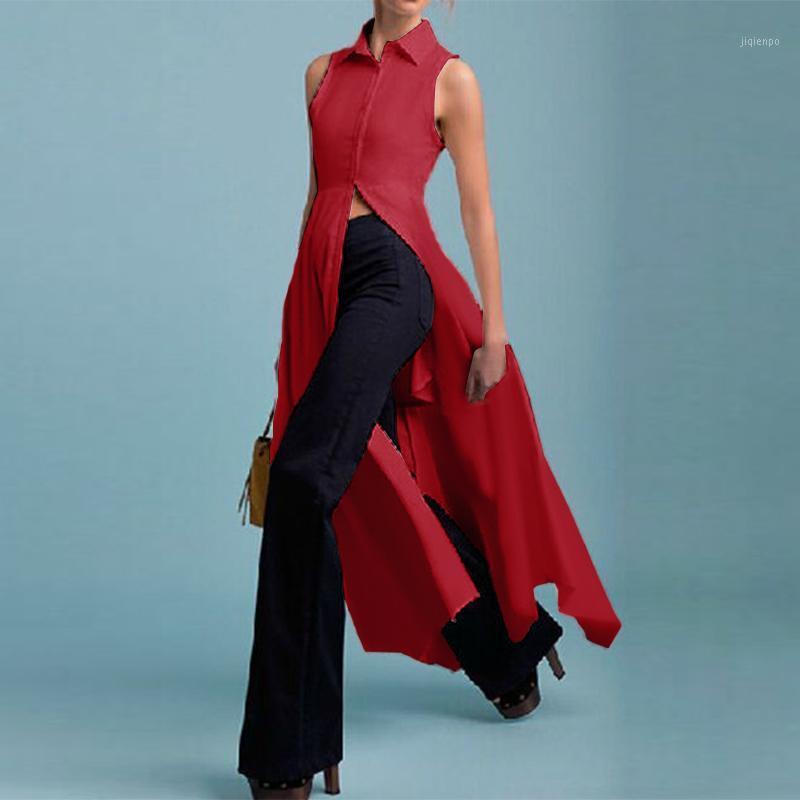 2020 асимметрические расщепленные топы Vonda старинные твердые блузка Женщины без рукавов Blusas повседневные свободные элегантные офисные рубашки длинные Chemise1