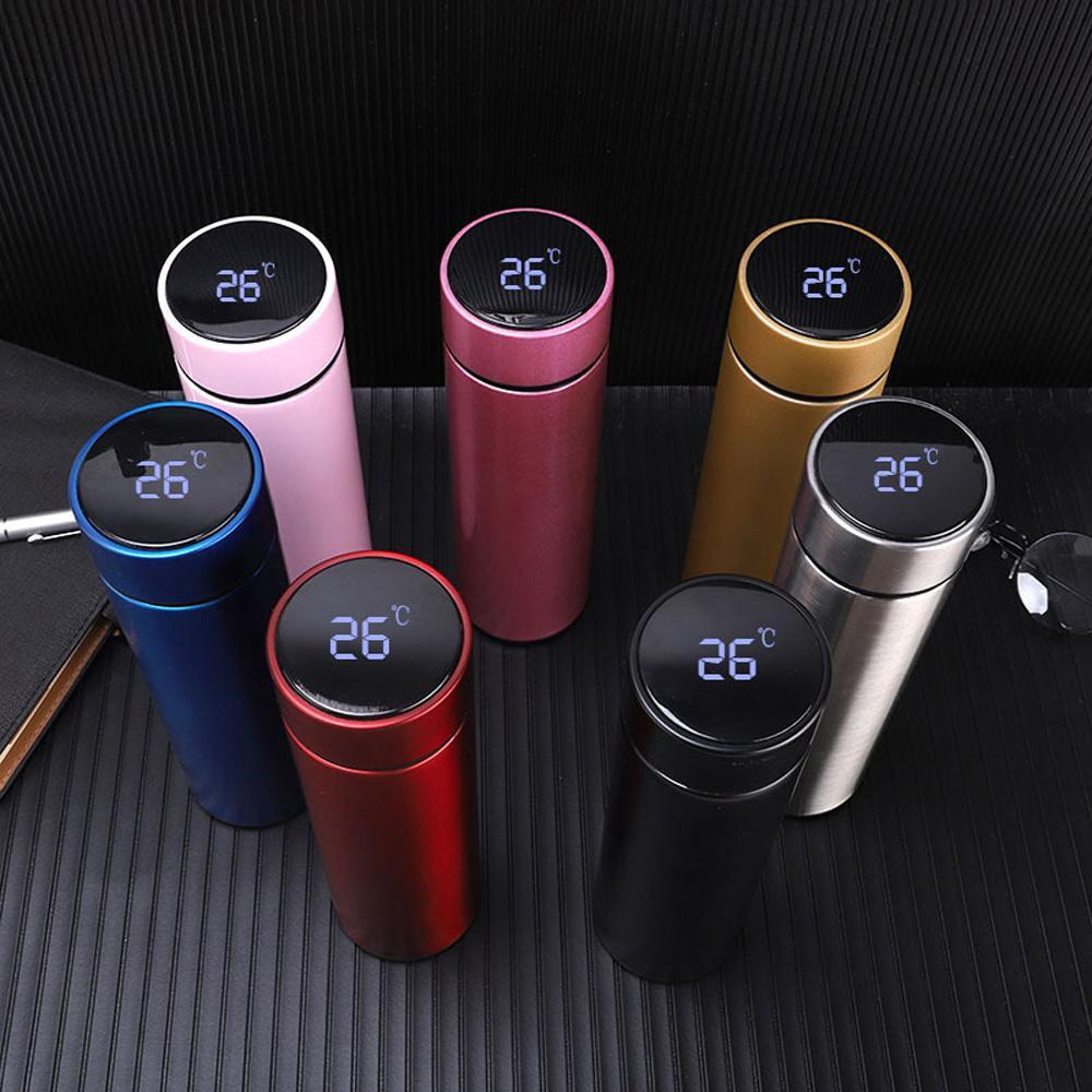 Termos Botella Temperatura Temperatura Smart inoxidable Botella de vacío Taza Taza Taza de vacío Vaciador A prueba de fugas Botella de agua