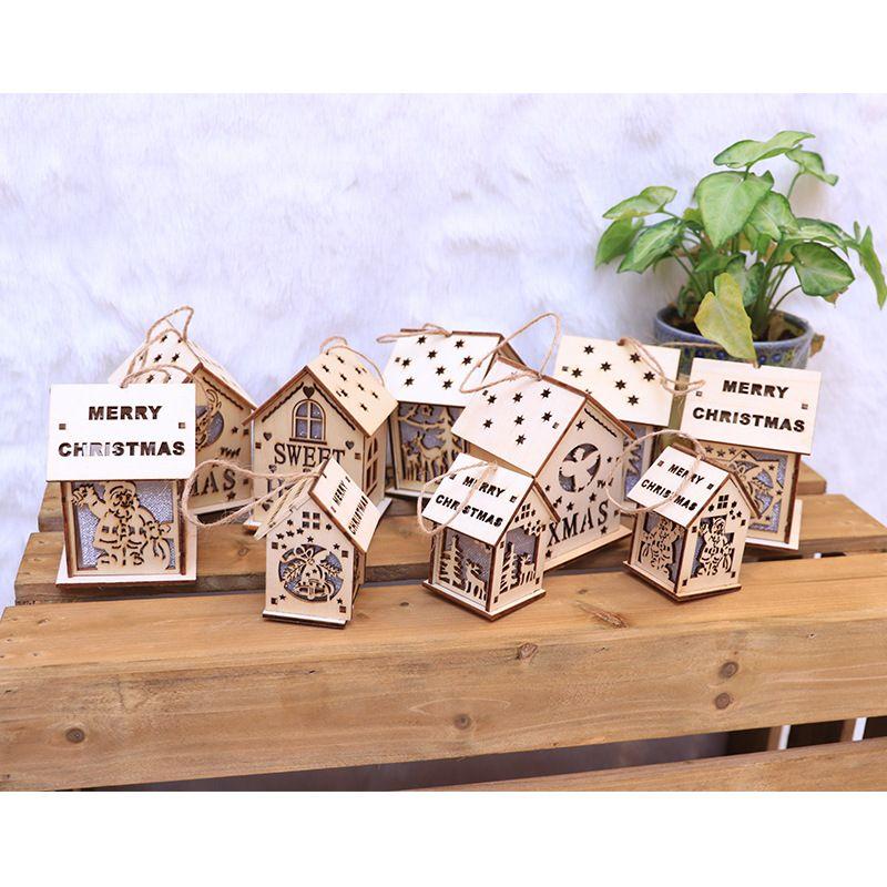Livraison gratuite Sapin de Noël lumineux LED Mini Pendentif en bois Décoration Maison Neige Nuit Lumière de Noël Enfants Cadeaux F7903