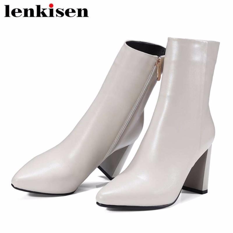 Lenkisen бренд обувь Римское платье натуральные кожаные квадратные пальцы на молнии бесплатная доставка Высокие каблуки осень зима женские ботинки лодыжки L67