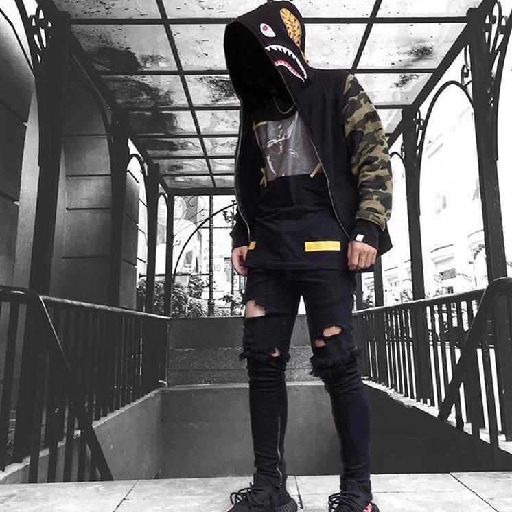 2020 새로운 남성용 옷 후드 재킷 회색 위장 상어 인쇄 남성 패션 코튼 후드 스포츠웨어 내부 양털 hoody sweatshirt