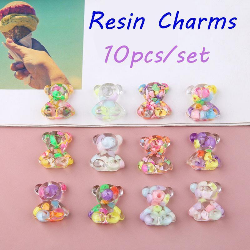 Candy Bear Mignon Résine Charms DIY Catch Constatations Gummy Boucles d'oreilles Keychain Collier Pendentif Bijoux Décor Accessoire1