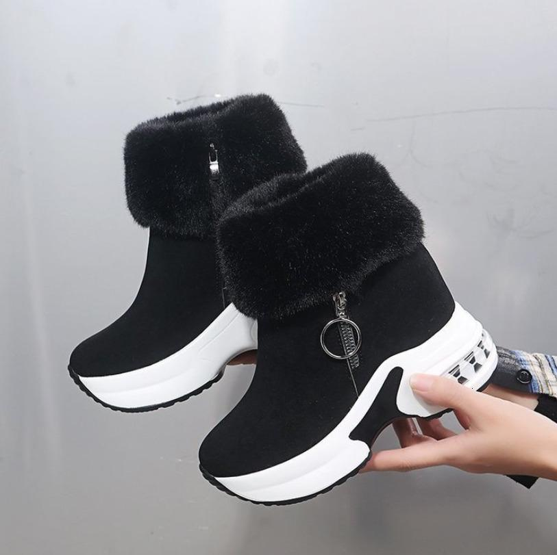 NAUSK شتاء دافئ الأرنب الفراء حذاء رياضة منصة سنو 2020 أنثى السببية أحذية الكاحل أحذية للمرأة