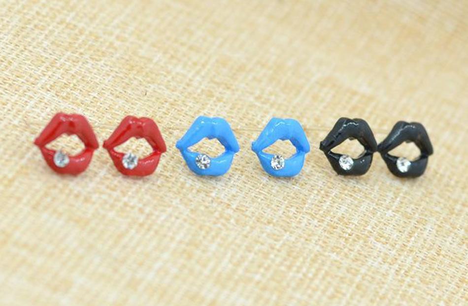 여성을위한 귀걸이 도매 입술 라인 석 시뮬레이션 스터드 귀걸이 여성 쥬얼리 스터드 귀걸이