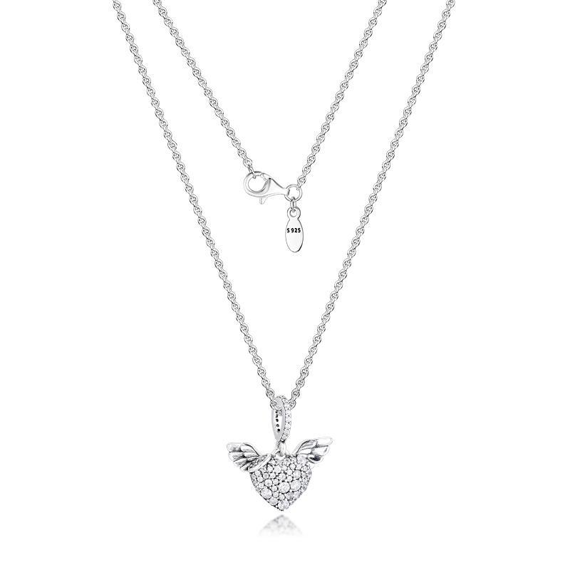 تمهيد القلب أجنحة الملاك قلادة قلادة فضة مجوهرات المرأة مجوهرات جديدة diy بالجملة قلادة قلادة 201123