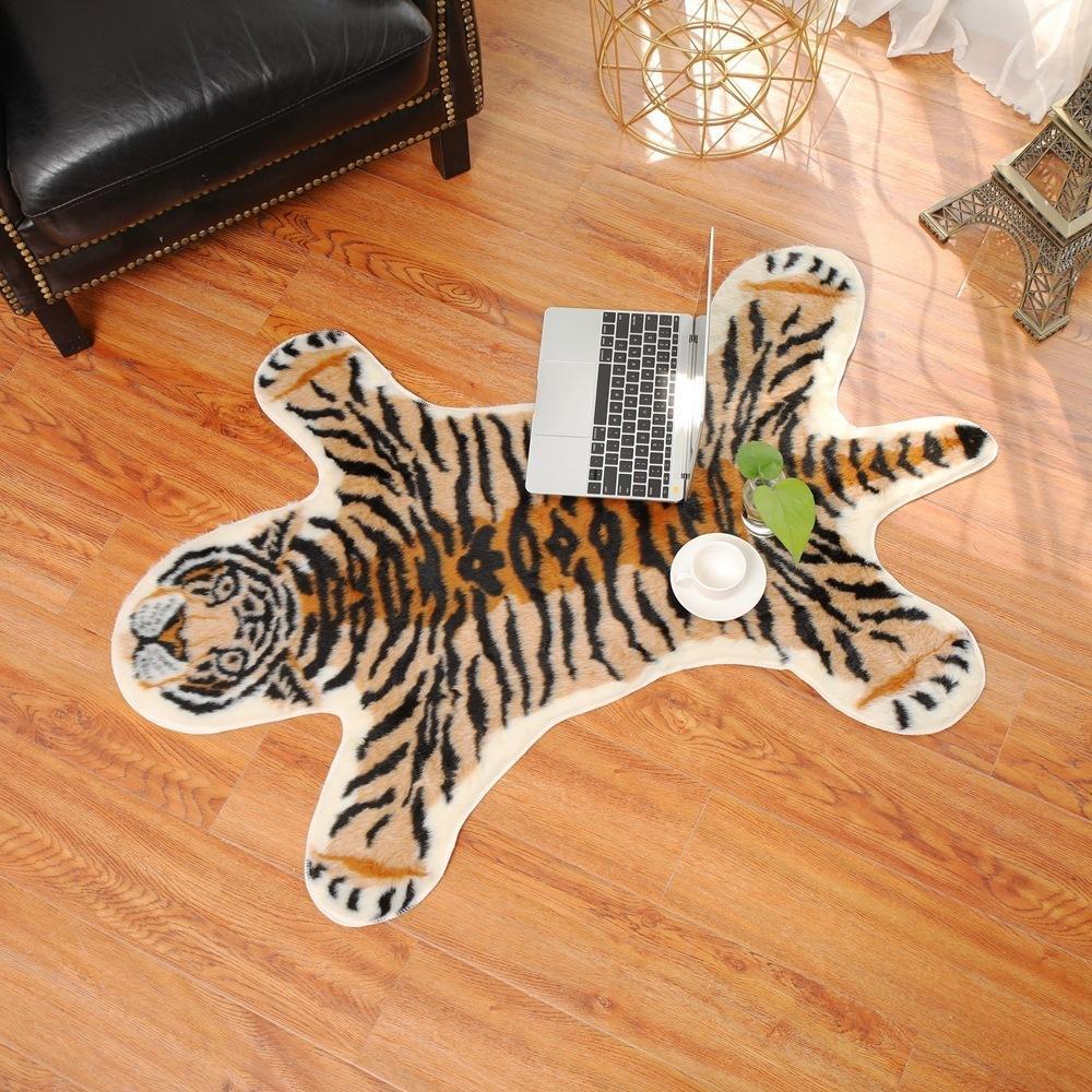 Tivre imprimé TIGER TIGRAPH TIGER TIGER TIGER IMPRIMÉS COWHIDE EN FAUX CUIR NONSLIP NONSLIP ANTICKID TAP 94X100CM Tapis d'imprimante pour animaux LJ201128