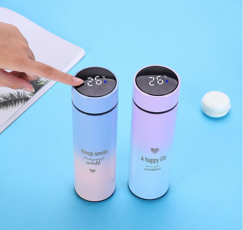 Fashionable 304 stainless steel vacuum flask, smart touch screen display temperature cup, student water cup, business gift cup