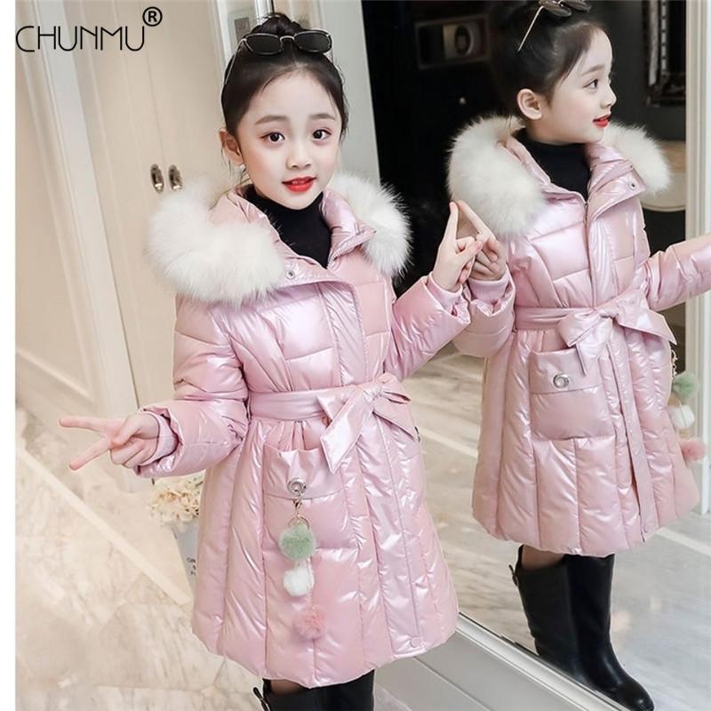 Enfants Veste Filles 2020 Veste d'hiver pour les filles Manteau bébé au chaud manteau à capuchon Hauts filles Vêtements pour enfants Long Down Parkas C1105