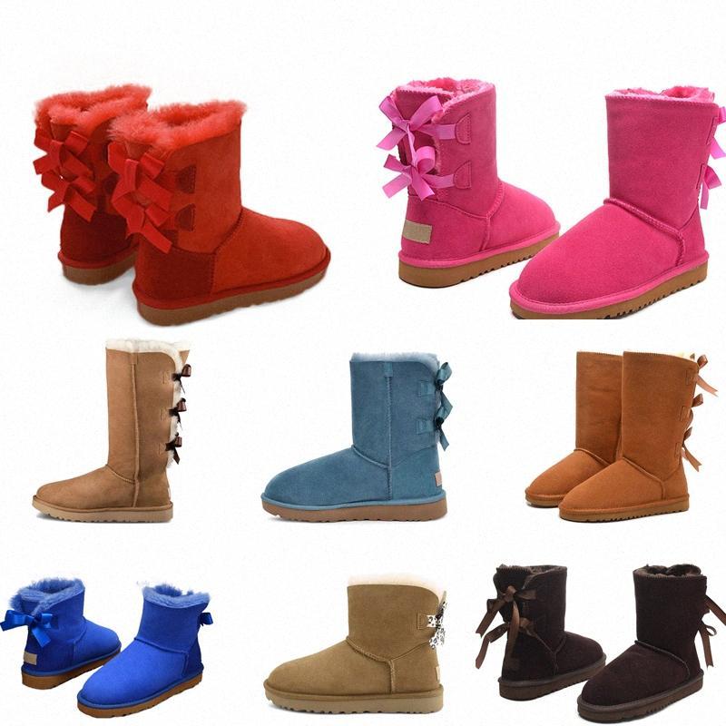 2021 Moda Avustralya Wgg Kadınlar Platformu Tasarımcı Bayan Motorccle Boot Kızlar Lady Bailey Yay Kış Kürk Kar Yarım Diz Kısa Çizmeler 3 9969 #