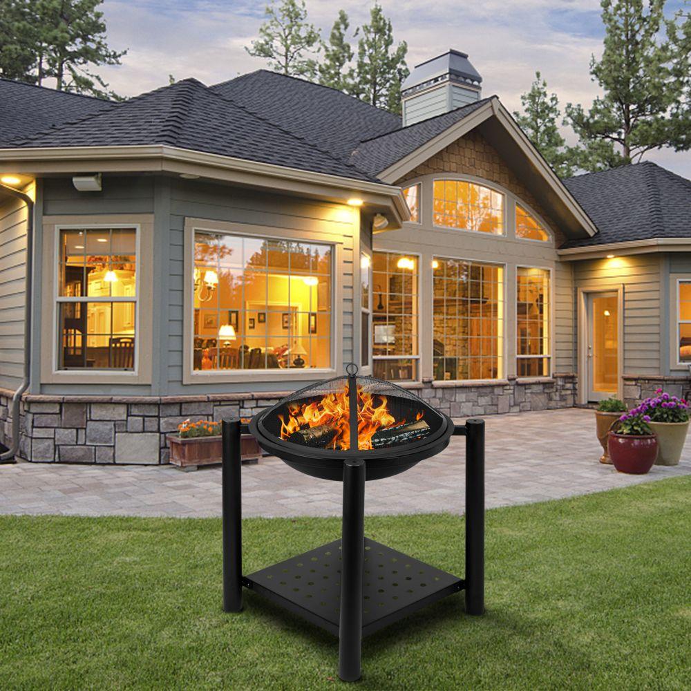 Waco ayakta ateş çukuru, 22-inç şekilli demir, açık mangal ahşap yanan veya kömür kullanımı dekorasyon arka bahçe havuzbaşı için siyah