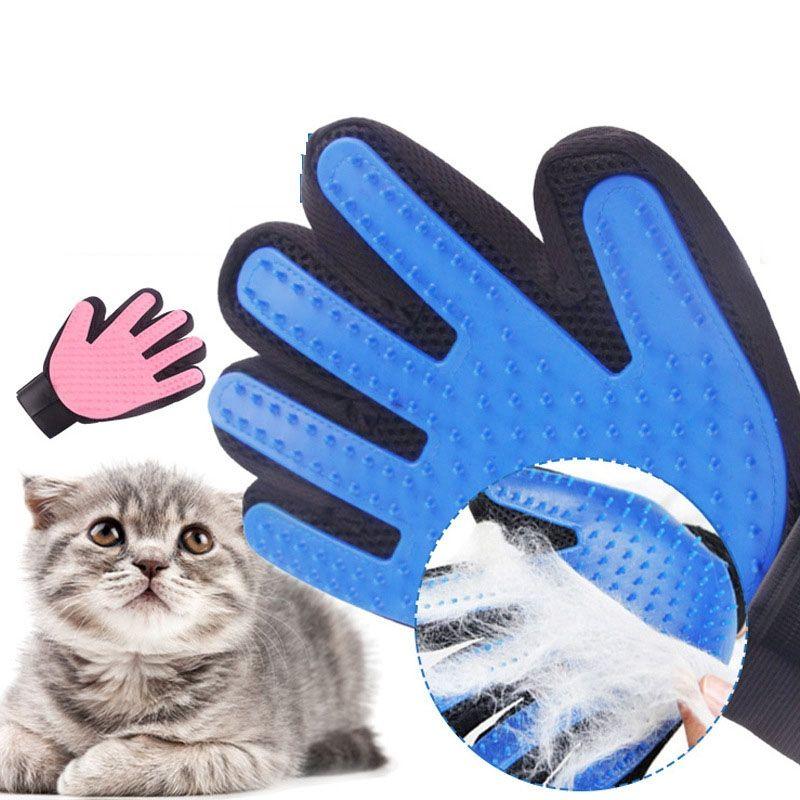Luvas de gato de estimação Luvas de estimação limpeza flutuante escova de cabelo animal de estimação grooming massagem luvas gatos cães banhos ferramentas limpas vtky2331