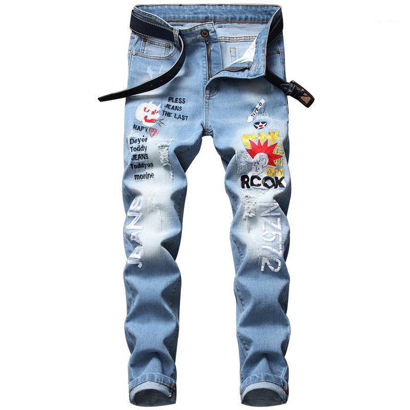 Jeans da uomo Hip Hop Rock Jeans High Street Fashion Ricamato Designer Stretch Stretchwear Distressed Denim Pantaloni MALE1