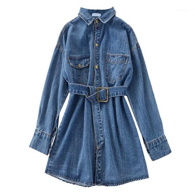 Peut-être maillot de chemise en denim robe bleue tourbillon routine collier manches longues poche solide mini robe courte haute rue automne d08741