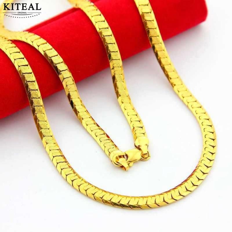 cadeia KITEAL Hot New Fashion 24K GP cor dourada cadeia homens colar de 5 milímetros 60 centímetros Plano de lado para os homens de colarinho presentes Belas Jóias