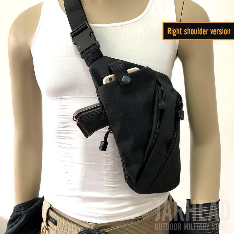 Multifonctionnel caché tactique de stockage tactique sac de sacs de sacs à bandoulière gauche à droite en nylon à gauche
