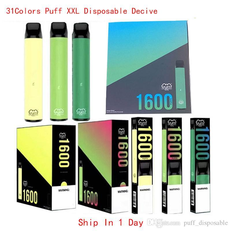 31 Couleurs Puff XXL 1600buffs Jetables avec Code Scratch Vape Pen Dispositif Kits de démarreur Vide Dispositif jetable Kits Puff Bar Plus Bang XXL