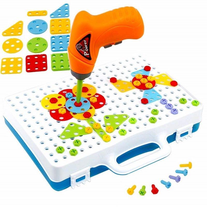Blocchi Drill Toy Bambini Attrezzi Giocattoli Finta Play Games montaggio fai da te STEM Jigsaw Toy Box Trapano elettrico a vite Giocattoli Kit Ragazzi regalo 1019