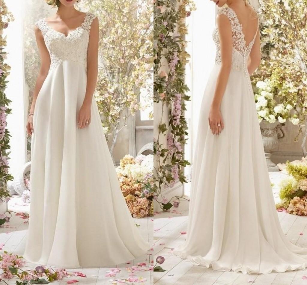 2021 romantico estate chiffon a-line Abiti da matrimonio Abiti applique pizzo con scollo a V backless abiti da sposa plus size abito da sposa