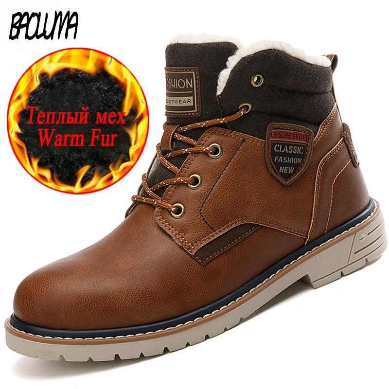Classico uomo spesso lana calda uomo caviglia uomo designer designer inverno sneakers lace-up stivali da moto 201204