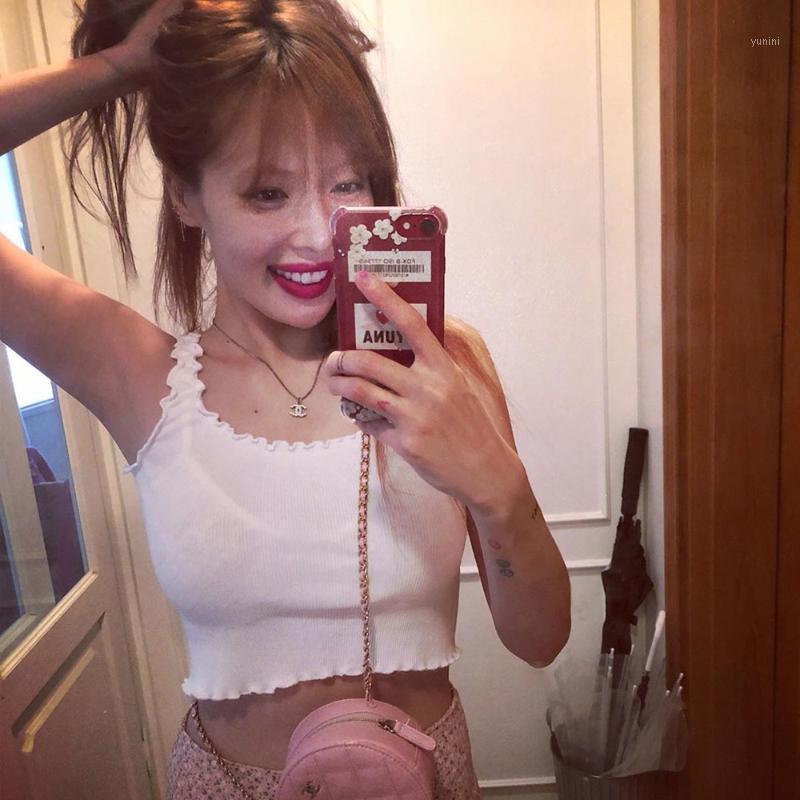 Mulheres Crop Top Sem Mangas Ruffles Camisa Básica Sexy Slim Senhora Bralette Tops Strap Skinny Vest Camisole Roupas Coreanas Tank1