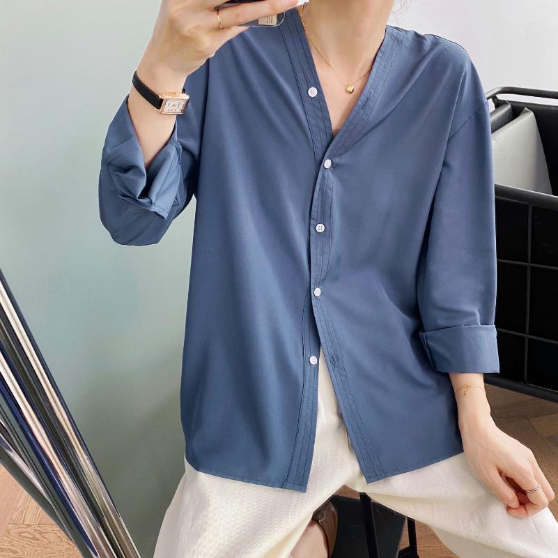 Otoño 2020 Nueva Blusa de moda Estilo coreano de las mujeres Camisetas de manga larga huella 5 colores