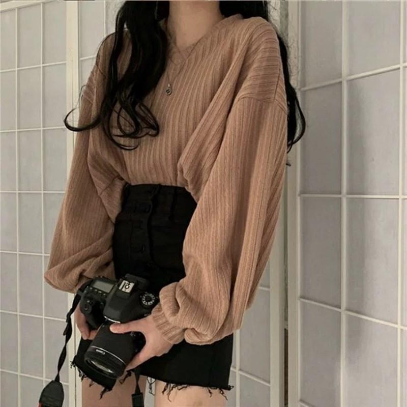 Фонарь с длинным рукавом вязать пуловер свитера женщины ретро Свободный Сумасшедший Стиль Коротких Прицепной Женская Осень