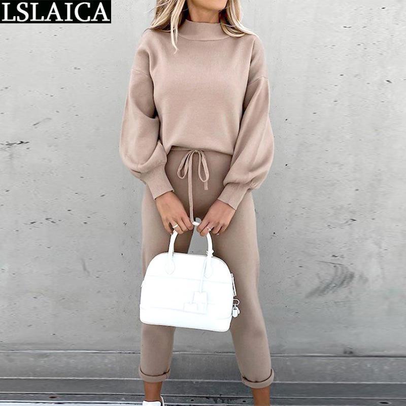 Eşofman Kadınlar 2 Parça Set Rahat İpli Pantolon Gevşek Uzun Kollu Tops Setleri Lounge Giymek Sonbahar Joggers Suit Womens Kıyafetler1