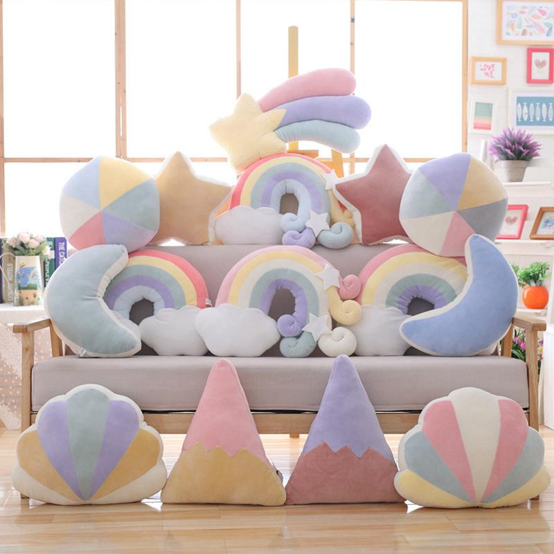 Colorful Moon Rainbow Star Cloud Conch Plush Pillow Kids Plush Toy Soft Sofa Cushion Baby Sleeping Pillow Lovely Gift Room Decor