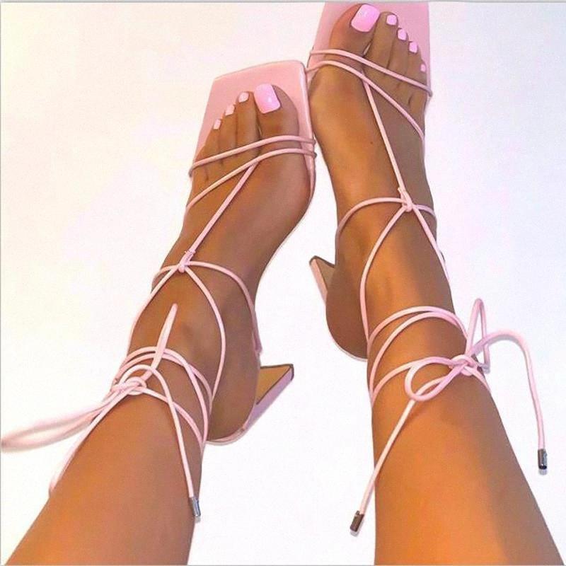 Науск Гладиатор Сандалии Женские Лодыжки Крест Ремень Высокие каблуки Обувь Женщины Сандалии Квадратный ДОЕК Сексуальная Партия Женская Обувь Запатос Мухеер # NQ75