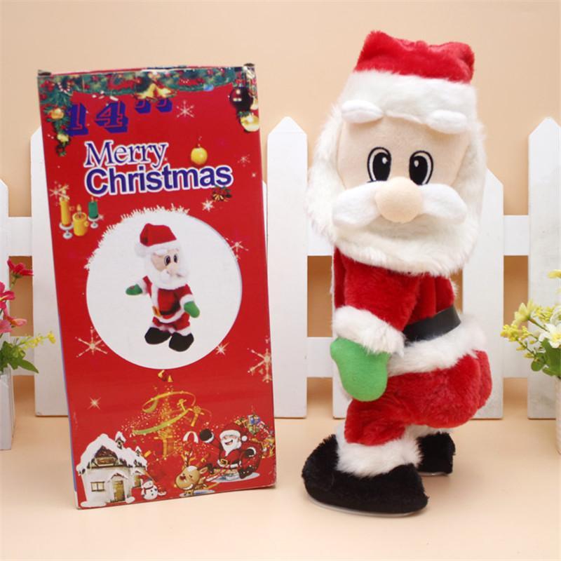 عيد الميلاد دمى هدية الرقص الموسيقي الكهربائية بابا نويل لعبة هز الوركين الغناء للأطفال هدايا حزب زينة عيد الميلاد