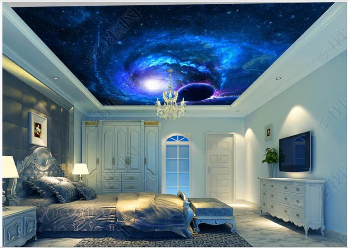 Custom photo ceiling mural wallpaper 3D zenith mural Beautiful dream sky planet universe zenith ceiling mural wall papers home decoration