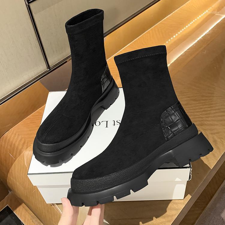 2021 Nuove stivali per caviglie per le donne Thick Bottom Toe TOE PU Stivali in pelle PU Black White All-Match Botas Feminina Piattaforma Shoes1