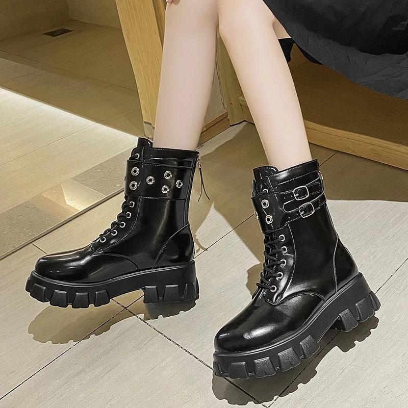 Siyah Tıknaz Motosiklet Çizmeleri Kadınlar Için Platform Sneakers Bayanlar Punk Stil Sonbahar Geri Zip Kısa Botas Çapraz Bağlı Ayakkabı 35-43
