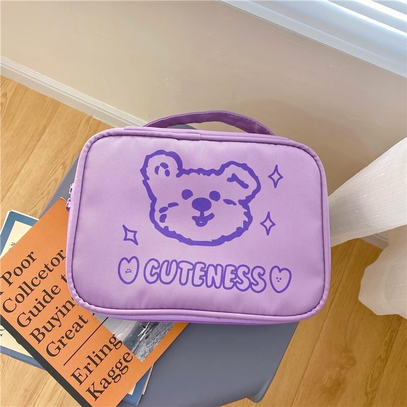 PRK6O coreana ins de almacenamiento vWTtU oso púrpura cosmética cabeza capacidad linda bolsa grande portátiles de almacenamiento portátil de viaje bolsa de lavado