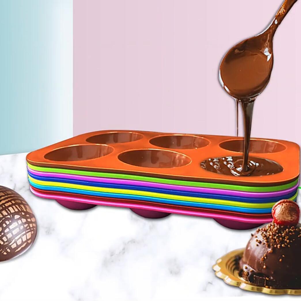 10 colores semi esfera molde 6 hoyos media bola esfera chocolate molde de silicona pastel redondo Moldes para hornear para postre DIY Jelly Dome Mousse