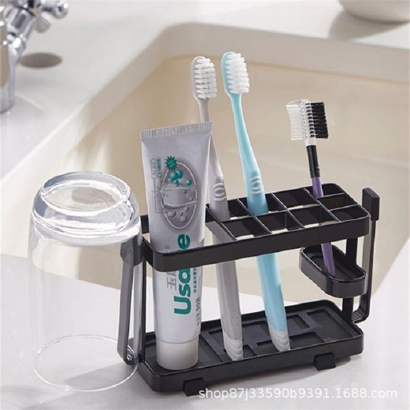 Pincel de dientes de estilo japonés Hierro de hierro Baño Artículos de aseo Toams de almacenamiento Baño Montado en la pared Cepillo de dientes Pasta de dientes Titular T200506