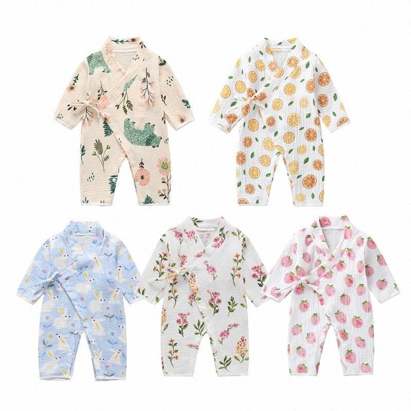 0-18M Spring Autumn Baby Girl Boys Clothing Rompers Jumpsuit Long Sleeve Floral Print Lovely Soft Baby Kimono Playwear G0AK#