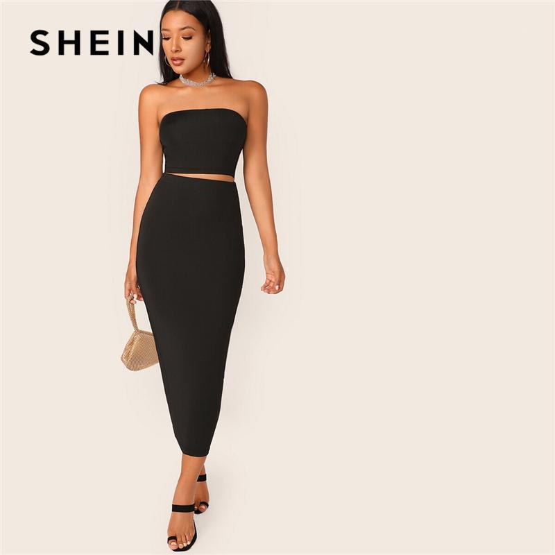 SheIn Black Solid Tube Crop Top und Long Bleistift Rock Set Slim Fit 2 Stück Set Frauen Sommer Dehnbar Boho Skinny Zwei Stück1