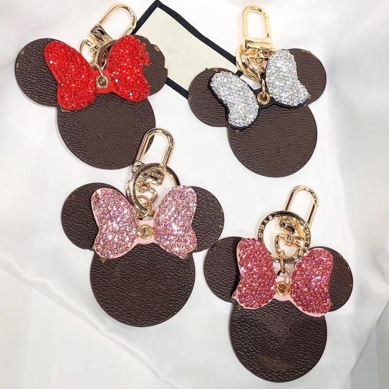 New Diamond CHAVEIRO projetado por designers de topo, de alta qualidade de banda desenhada couro MOUSE chaveiro, dom casal, pingente de bolsa de mulher, pingente de chave do carro