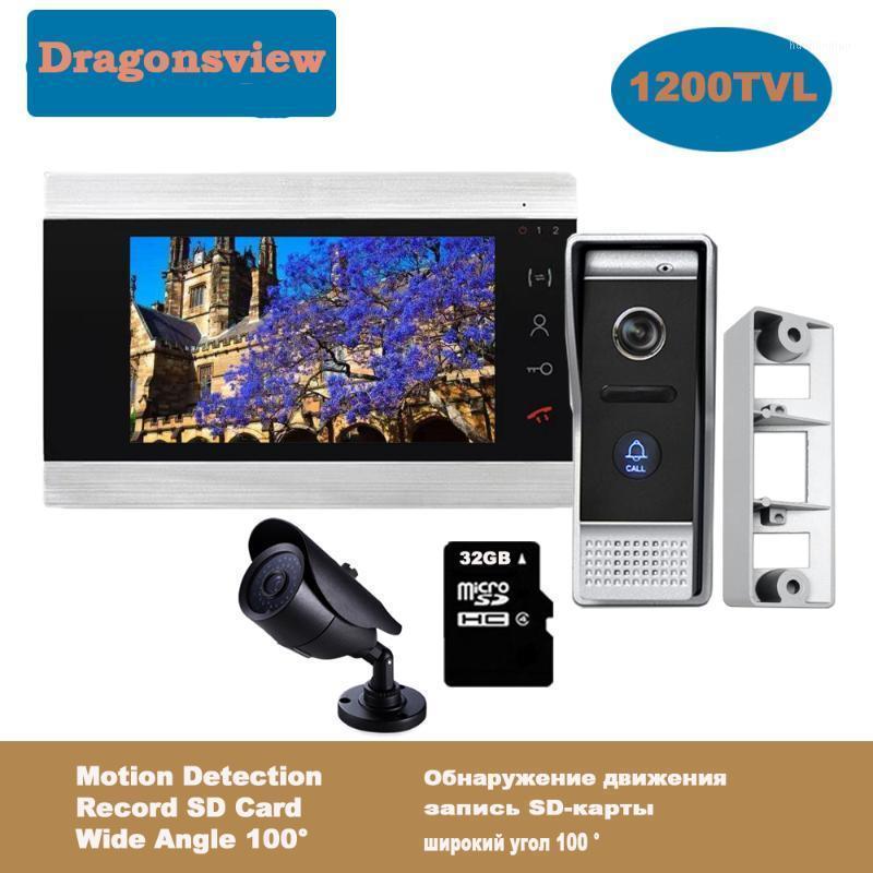 Téléphones de porte vidéo DragonsView 7 pouces Téléphone Home Intercom System Système de sonnette Caméra 2.8mm Lentille de 2,8mm Détection de mouvement grand angle 1200TVL1